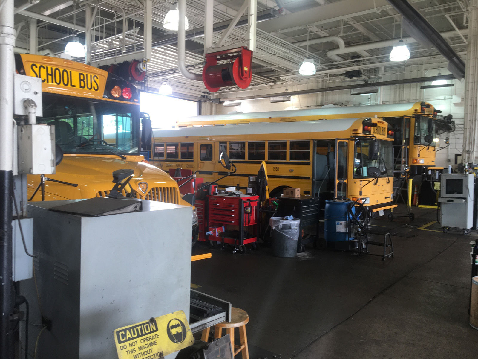 On average, the inspections and basic maintenance take about four hours per bus, including checks of brakes, headlights and flashers. (WTOP/Max Smith)