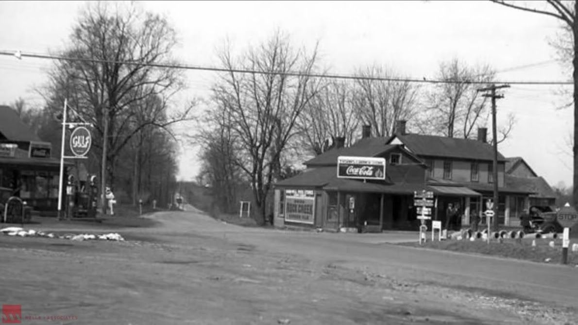 In 1930, Myers Gas Station was at the intersection of Leesburg Pike and Dolley Madison Boulevard. (Courtesy Tysons Partnership)