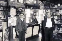 Frank and Charlie Myers inside Myers Market in 1930. (Courtesy Tysons Partnership)