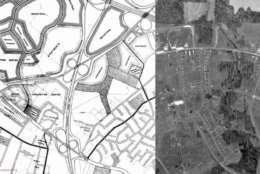 The original Tysons Corner Master Plan in 1961. The design predates Tysons Corner Center. (Courtesy Tysons Partnership)