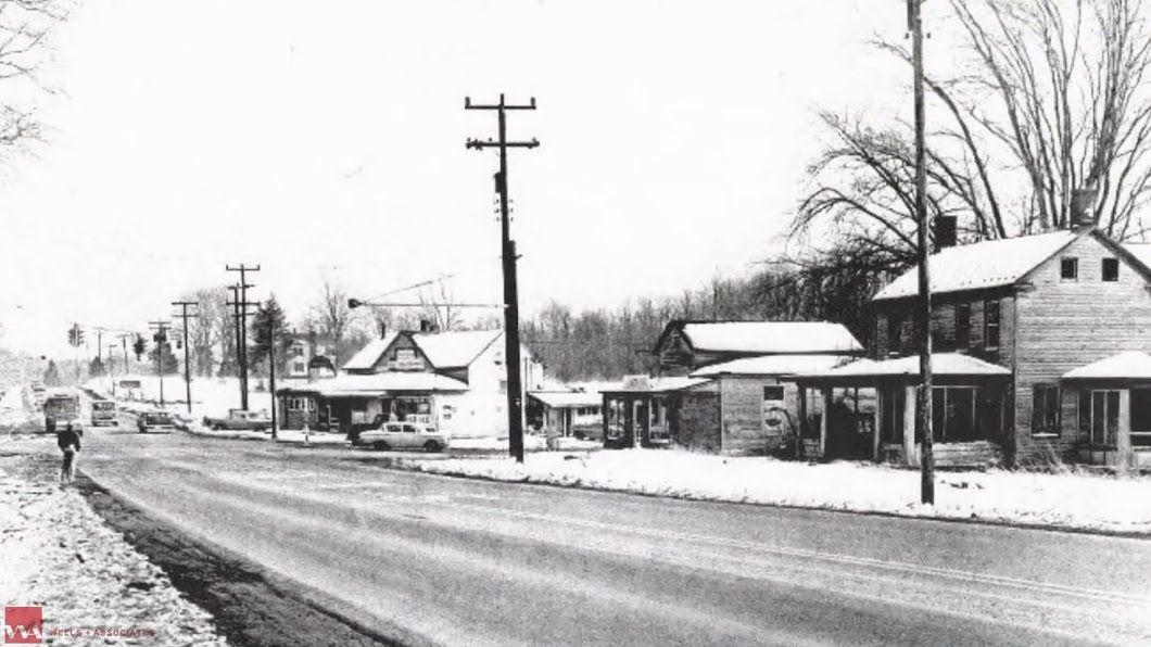 Snowy Leesburg Pike, seen in 1962, headed from west Tysons toward Colvin Run.  (Courtesy Tysons Partnership)