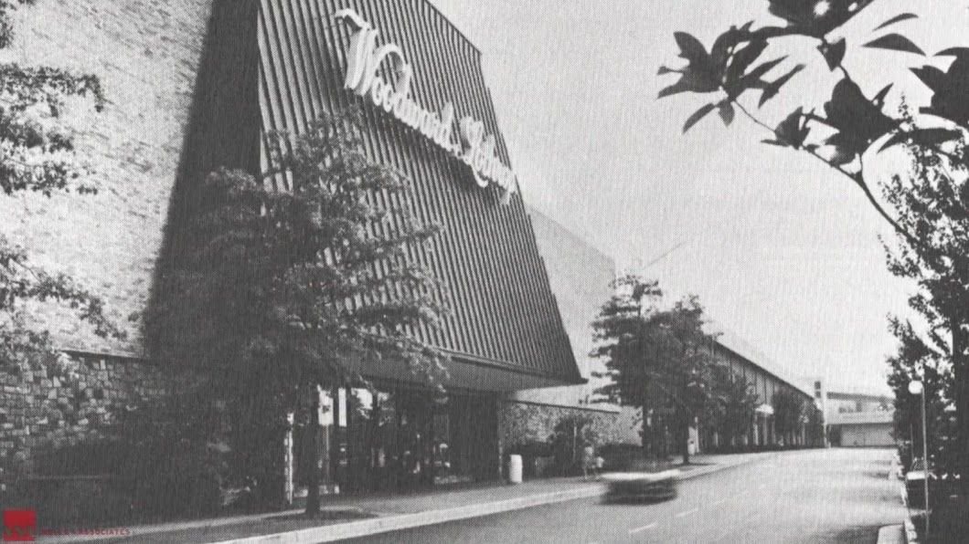 A view of Tysons Corner Center's main entrance at Woodward Lothrop when it opened in 1968. (Courtesy Tysons Partnership)