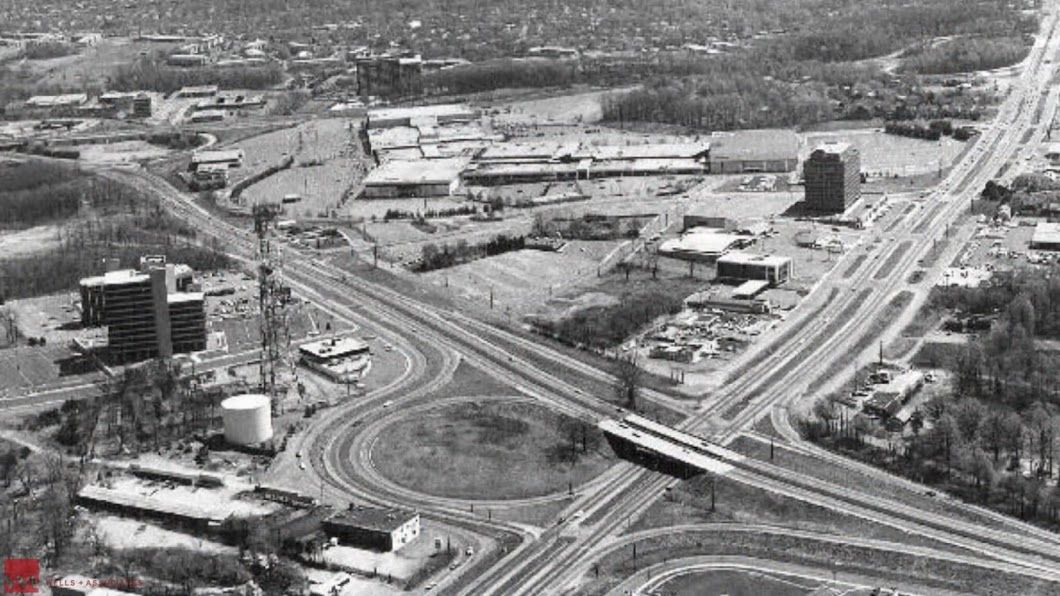 Leesburg Pike and Dolley Madison Boulevard -- the interchange road project in the heart of Tysons -- in 1974. (Courtesy Tysons Partnership)