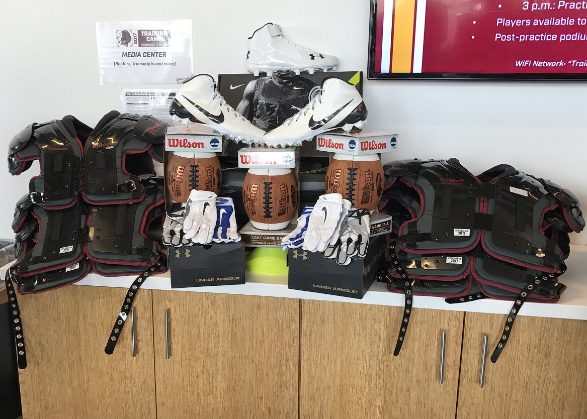 Some of the gear the Redskins and Good Sports donated Tuesday. (WTOP/George Wallace)