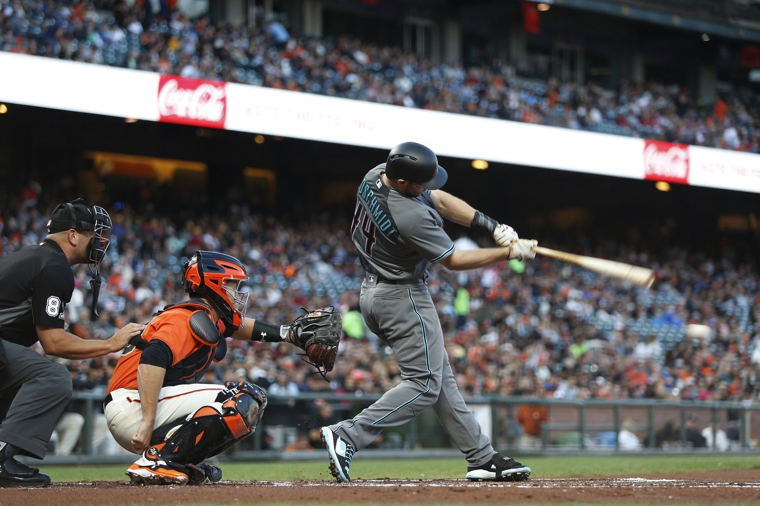 SAN FRANCISCO, CA - AUGUST 4: Paul Goldschmidt #44 of the Arizona Diamondbacks sonnets for a single during the second inning against the San Francisco Giants at AT&T Park on August 4, 2017 in San Francisco, California. (Photo by Stephen Lam/Getty Images)