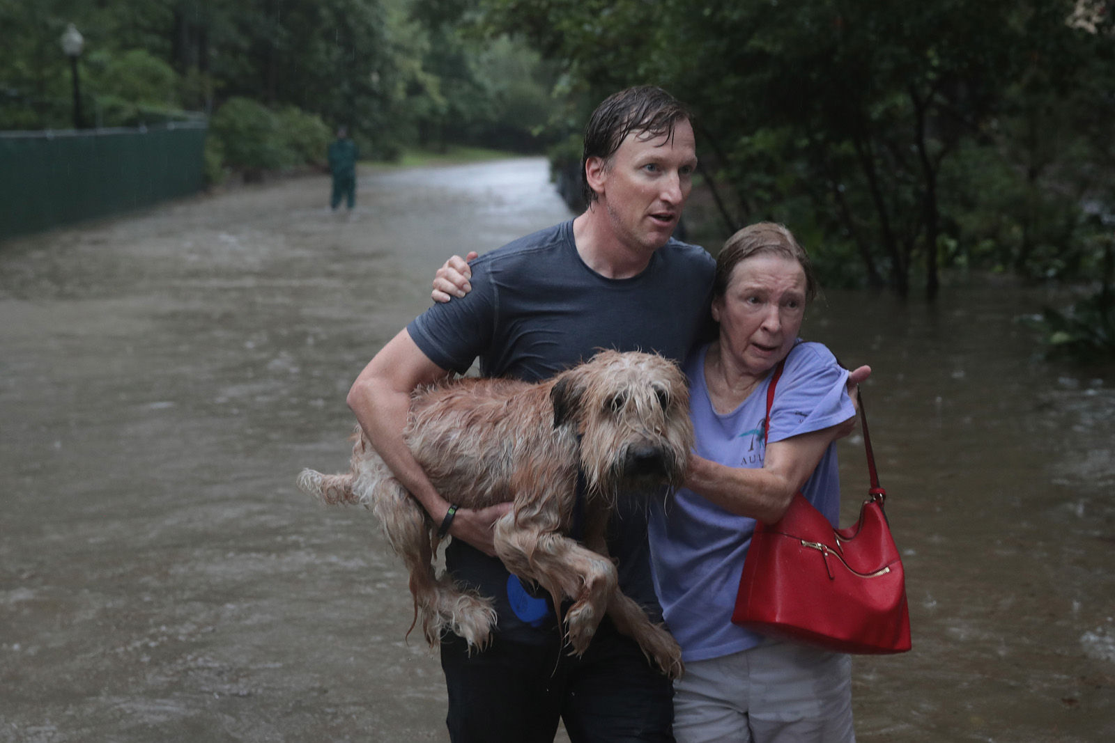 Andrew White (L) helps a neighbor down a street after rescuing her from her home in his boat in the upscale River Oaks neighborhood after it was inundated with flooding from Hurricane Harvey on Aug. 27, 2017 in Houston, Texas. Harvey, which made landfall north of Corpus Christi late Friday evening, is expected to dump upwards to 40 inches of rain in Texas over the next couple of days.  (Photo by Scott Olson/Getty Images)