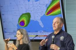 Louisiana Governor, John Bel Edwards, speaks to officials from the 5 parishes the SW Louisiana during a weather debriefing at the Office of Emergency Preparedness in Lake Charles, La., Tuesday, Aug. 29, 2017. (Rick Hickman/American Press via AP)