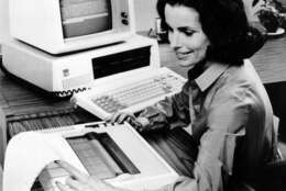The new IBM Personal Computer system for home and school use is shown in Aug. 1981.  The expandable system includes a monitor screen, printer and disk drives.  (AP Photo)