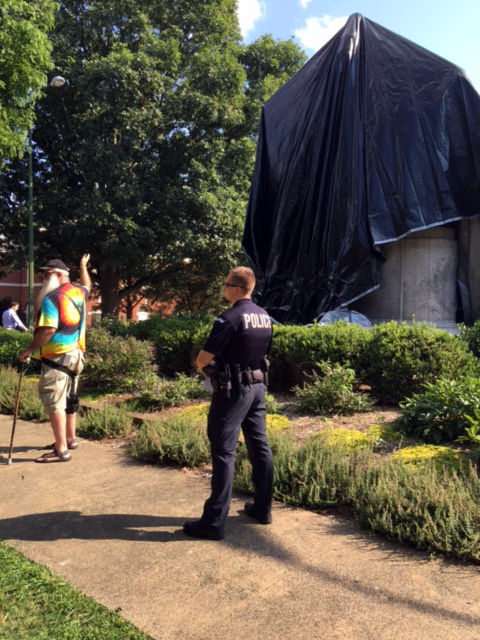 Miska claimed the covering violates a state law banning the takedown of Confederate monuments.  (WTOP/Shawn Anderson)