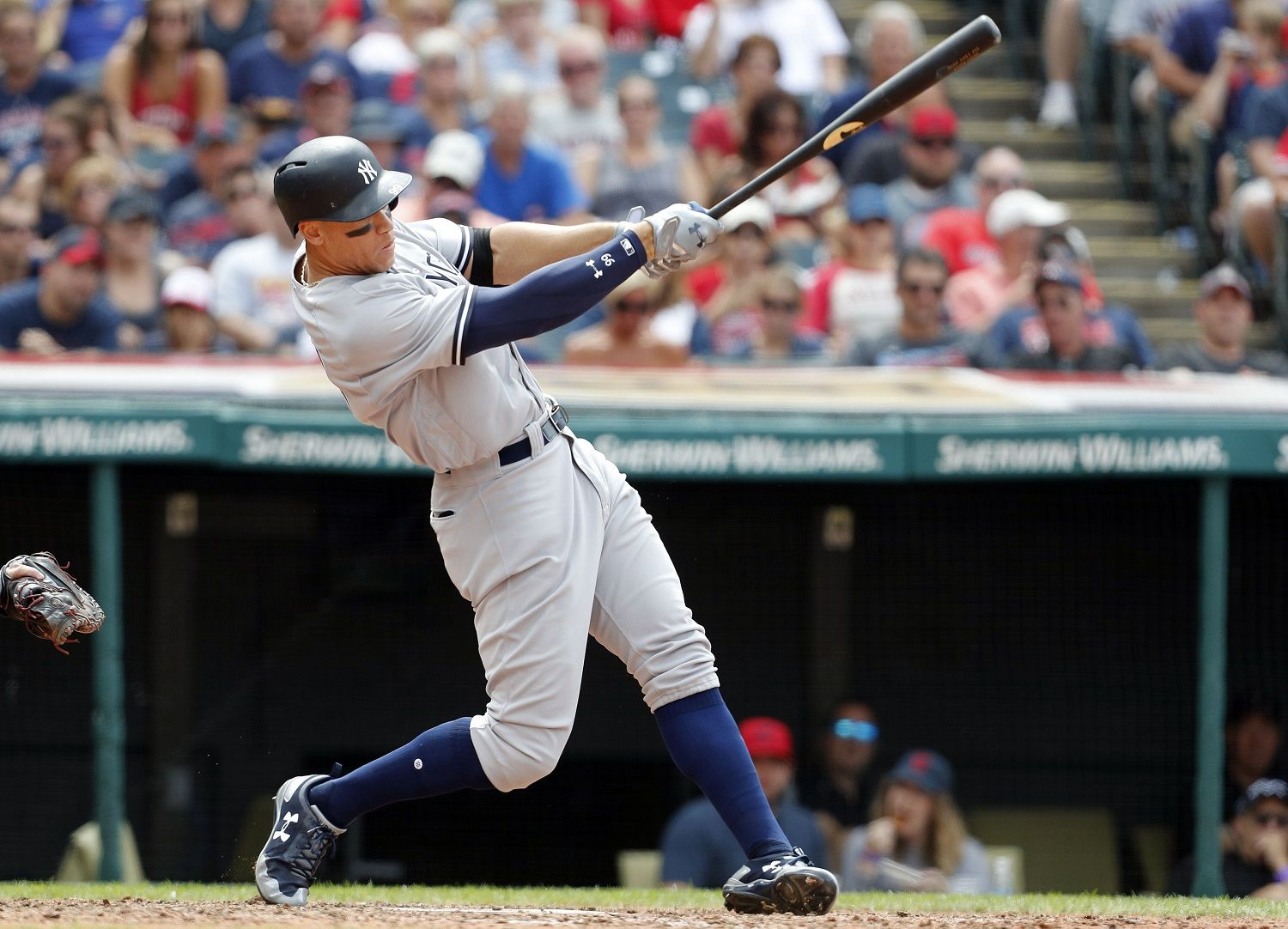 CLEVELAND, OH - AUGUST 06:  Aaron Judge #99 of the New York Yankees hits a three run home run in the seventh inning  off of Mike Clevinger #52 of the Cleveland Indians at Progressive Field on August 6, 2017 in Cleveland,  Ohio.   (Photo by David Maxwell/Getty Images)
