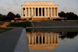 FILE - In this June 30, 2017, file photo, the Lincoln Memorial is seen in the early morning light on the National Mall. The National Park Service says someone defaced the memorial with an anti-law message early in the morning on Aug. 15, 2017. (AP Photo/Carolyn Kaster, File)