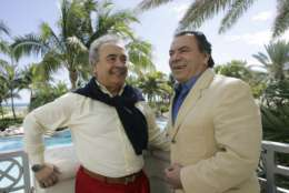 "FILE - This Feb. 9, 2009 file photo shows Spanish singers Antonio Romero, left, and Rafael Ruiz, better known as Los Del Rio, in Miami Beach, Fla., Their 1996 song ""Macarena"" became an International hit. (AP Photo/Alan Diaz, File)"