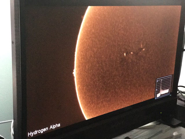 The photos are from NASA's Lunt Portable lab where they take in the sun with 4-6k cameras in real time to create different images of the sun. (WTOP/Steve Dresner)