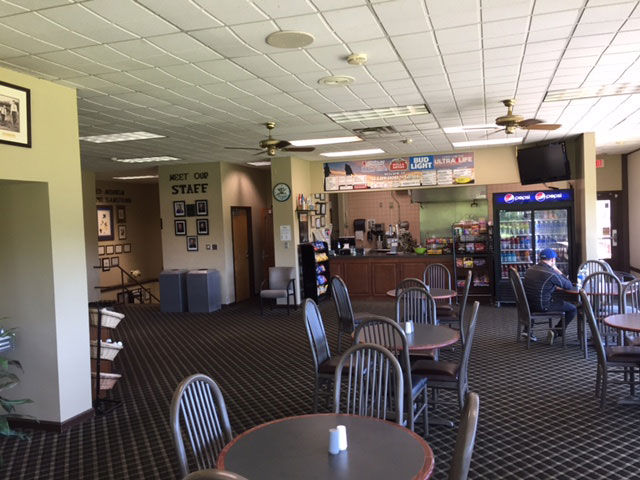 The snack bar has a grill and seats 75. There is also a drink cart most days on the course. (WTOP/Mike Jakaitis)