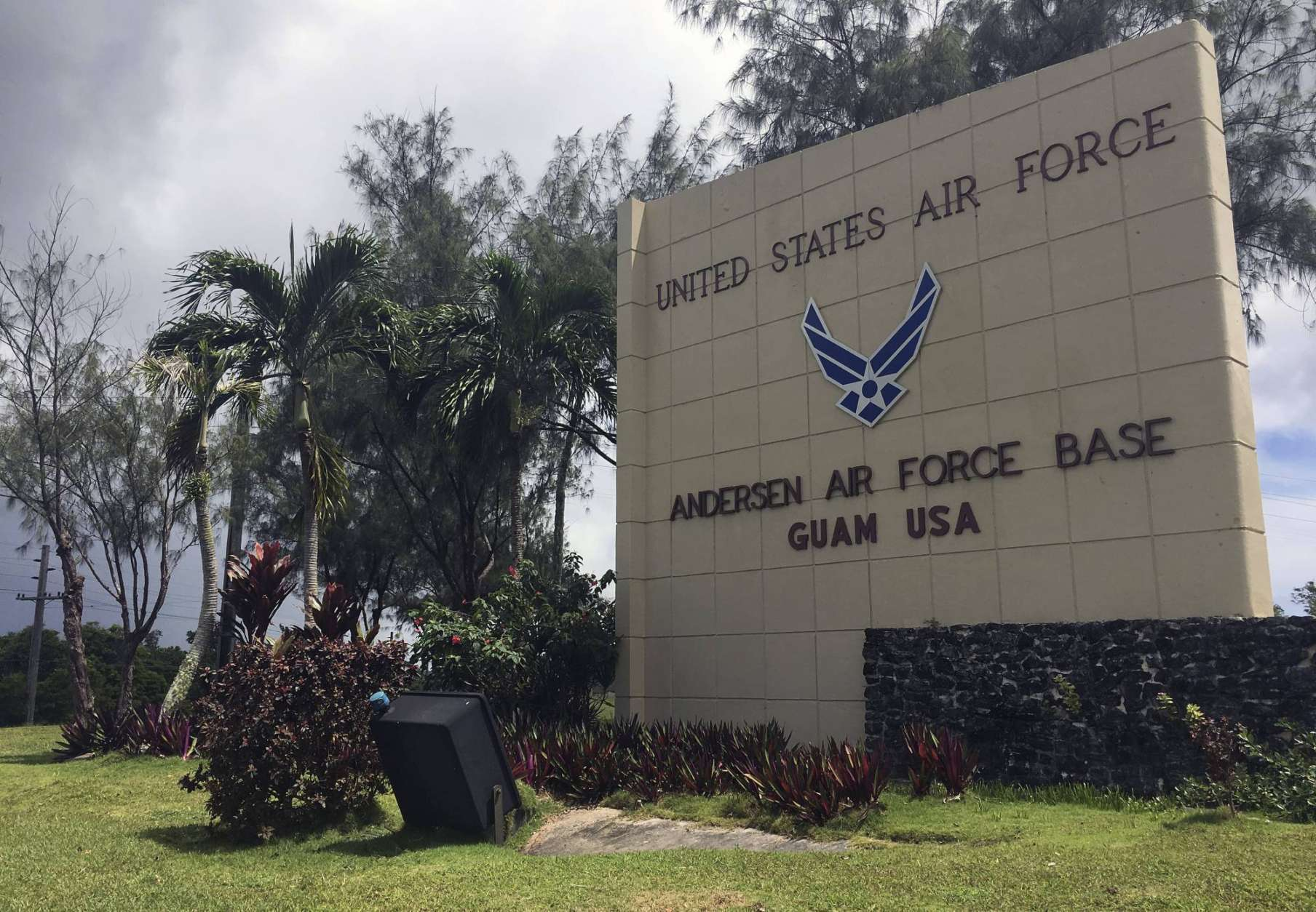 "The front entrance sign for Anderson Air Force base is seen in Yigo, Guam on Thursday morning, Aug. 10, 2017. The small U.S. territory of Guam has become a focal point after North Korea's army threatened to use ballistic missiles to create an ""enveloping fire"" around the island. The exclamation came after President Donald Trump warned Pyongyang of ""fire and fury like the world has never seen."" (AP Photo/Tassanee Vejpongsa)"