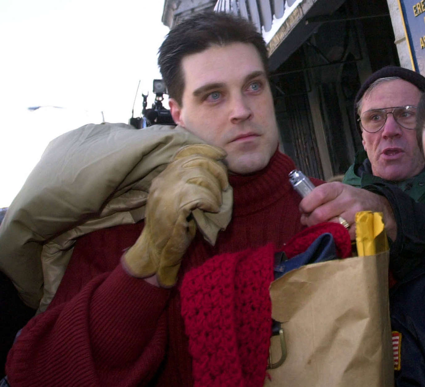 "**RETRANSMITTED FOR ALTERNATE CROP**Confessed ""Preppie Killer"" Robert Chambers, left, leaves Auburn Correctional Facility in Auburn, N.Y., Friday Feb. 14, 2003. Chambers served the maximum time on his manslaughter conviction for killing Jennifer Levin on Aug. 26, 1986. (AP Photo/David Duprey)"