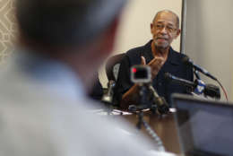 """Phillip Butler, victim of a cross burning on his property forty years ago, speaks during a news conference at his attorney's office in Washington, Wednesday, Aug. 23, 2017. Forty years ago, Catholic Priest William Aitcheson, was a Ku Klux Klan """"wizard"""", has come forward after decades as a Catholic priest, he's coming forward about his past. (AP Photo/Pablo Martinez Monsivais)"""
