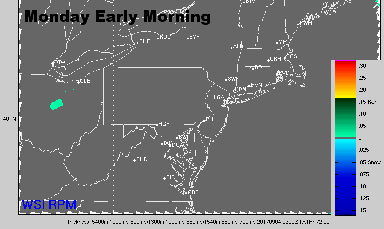 Radar for Monday morning. (Courtesy: The Weather Company)