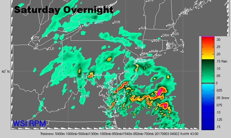 Radar for Saturday overnight. (Courtesy: The Weather Company)