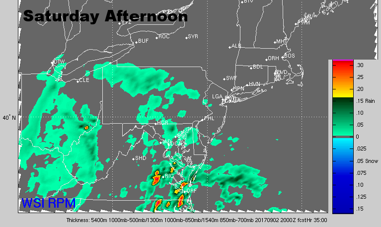 Saturday afternoon radar. (Courtesy: The Weather Company)