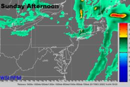 Sunday afternoon radar. (Courtesy: The Weather Company)
