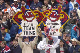 The Redskins are not the only team to face controversy over their name and logo. During the 2016 American League Championship Series, Native American activists attempted to get a Canadian court to ban the Cleveland Indians from using their full name and logo when they played the Toronto Blue Jays in Toronto. The case was dismissed.  FILE - In this April 8, 2002, file photo, fans hold up Chief Wahoo signs as they celebrate the Cleveland Indians' win over the Minnesota Twins, in Cleveland, Ohio. (AP Photo/Tony Dejak, File)