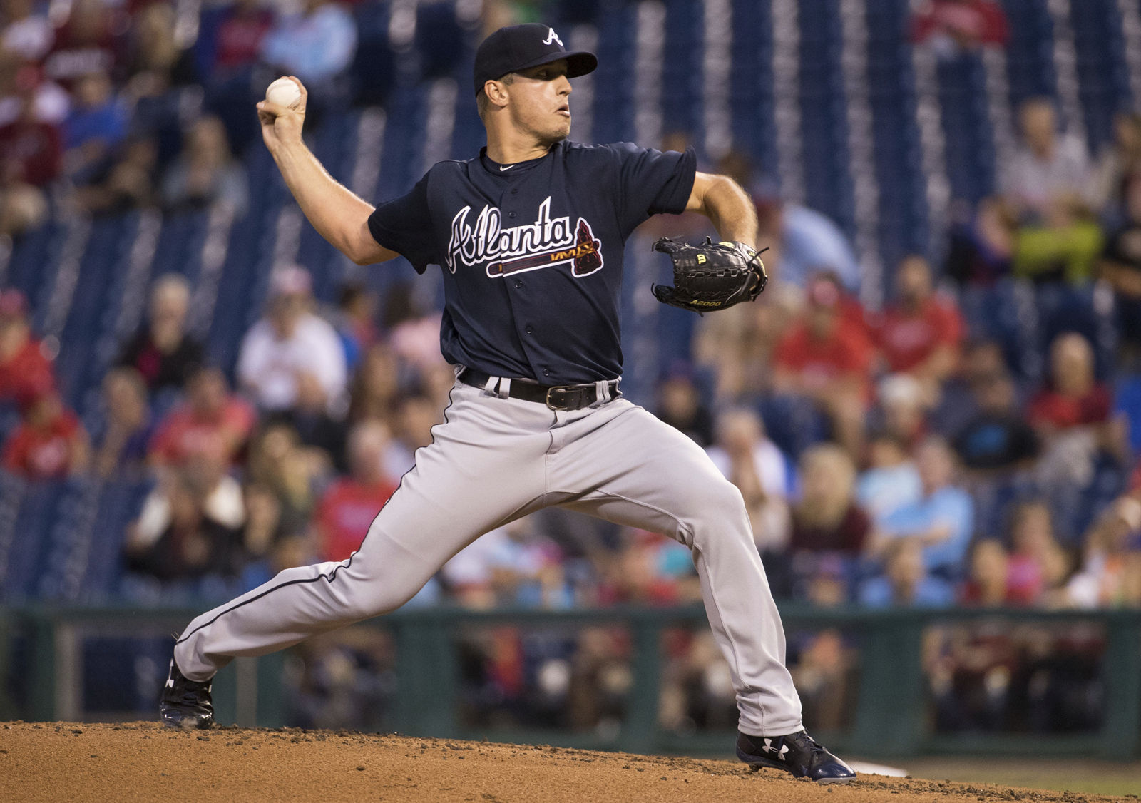 The Atlanta Braves have also come under criticism for their use of Native American imagery in their logos and uniform.   File. Atlanta Braves starting pitcher Lucas Sims throws a pitch during the second inning of a baseball game against the Philadelphia Phillies, Monday, Aug. 28, 2017, in Philadelphia. (AP Photo/Chris Szagola)