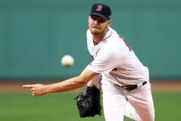 BOSTON, MA - AUGUST 1: Chris Sale #41 of the Boston Red Sox pitches against the Cleveland Indians during the first inning at Fenway Park on August 1, 2017 in Boston, Massachusetts. (Photo by Maddie Meyer/Getty Images)