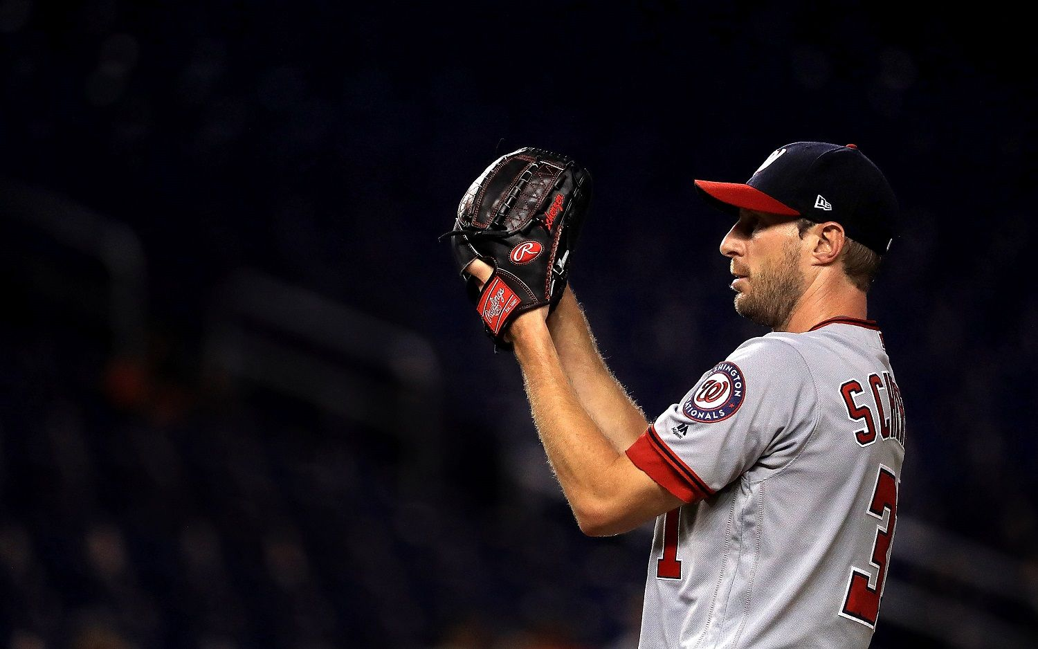 MIAMI, FL - AUGUST 01:  Max Scherzer #31 of the Washington Nationals pitches during a game against the Miami Marlins at Marlins Park on August 1, 2017 in Miami, Florida.  (Photo by Mike Ehrmann/Getty Images)