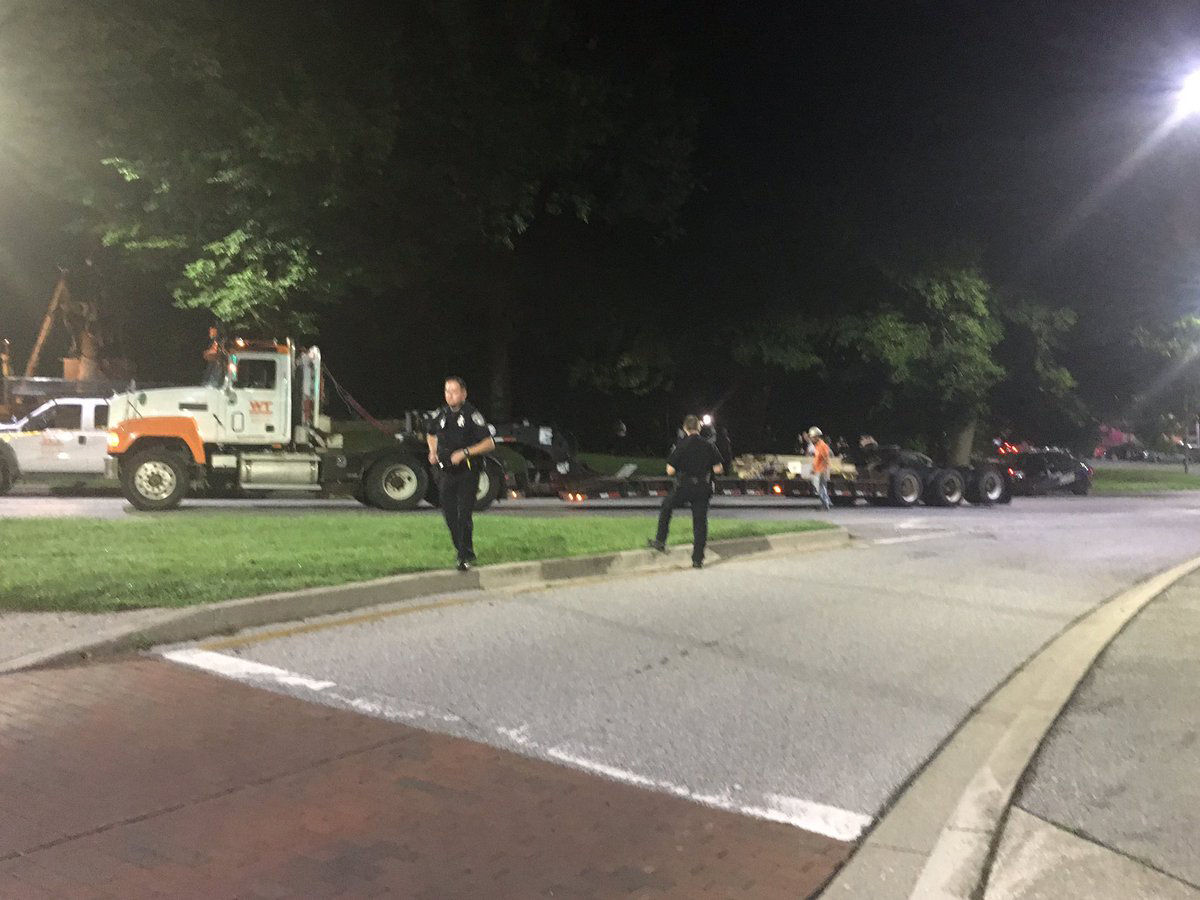 Crews in Baltimore removed Confederate monuments around the city in the overnight hours of Wednesday morning. (Credit: Mia Rosas WBAL/@Mia_WBAL)
