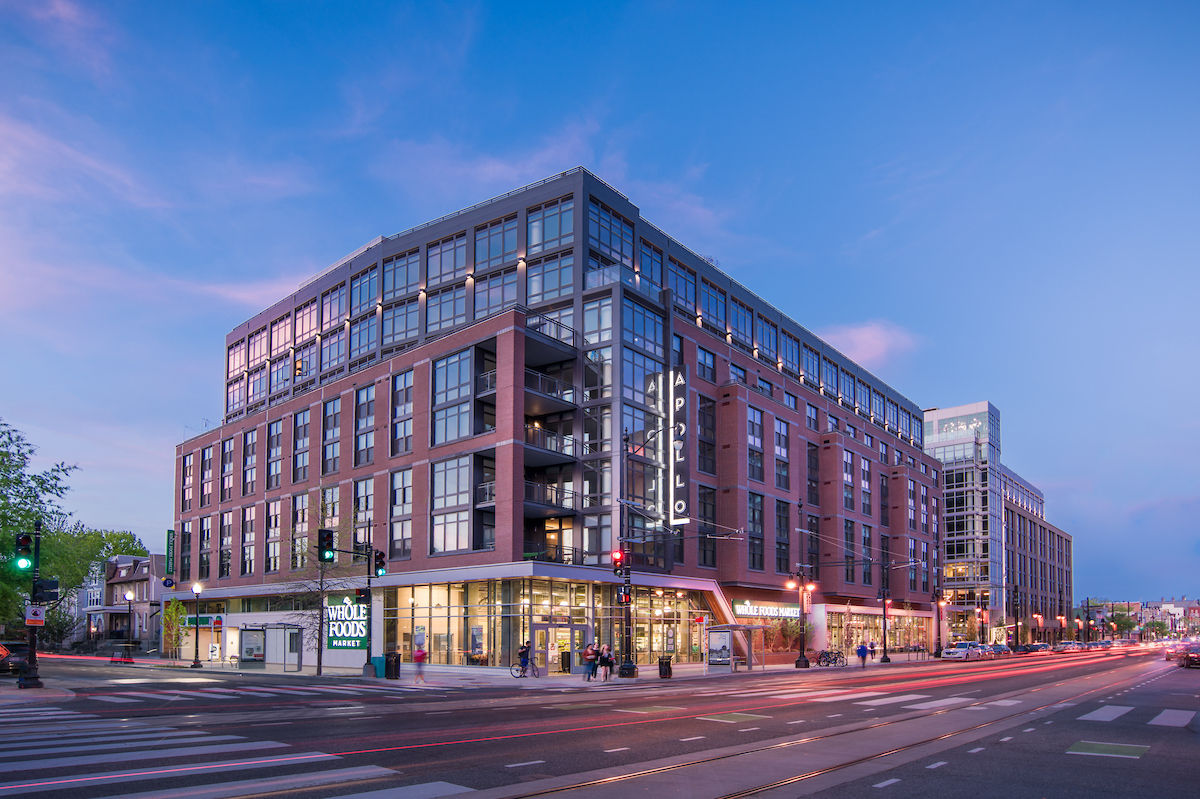 In 2016, the D.C. apartment building The Apollo opened on the 600 block of H Street NE. It's anchored by a Whole Foods Market and We Work, a shared workspace company. (Courtesy Jeffrey Sauers)