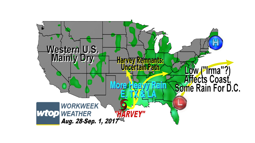 """While Tropical Storm """"Harvey"""" continues to bring catastrophic, life-threatening flooding to Texas in the days ahead, we may have a named tropical low pressure system moving up the eastern seaboard from now through the middle of the week. (WTOP/Storm Team 4)"""
