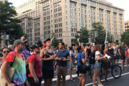 Protesters in front of the Trump Hotel during their march against hatred and bigotry in D.C. on August 13. Many people claim that Trump's condemnations of the violence in Charlottesville, Virginia did not do enough to condemn white supremacists. (WTOP/Liz Anderson)