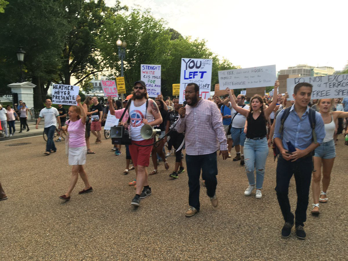 The vigil turned into a march, at least several blocks long, past the White House down Pennsyvlania Avenue to a statue of Albert Pike. Pike fought for the Confederacy during the Civil War and is the only Confederate officer with an outdoor statue in D.C. (WTOP/Liz Anderson)