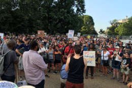 In the wake of the violence in Charlottesville, Virginia on August 12, a group gathered in front of the White House to denounce hate and bigotry. (WTOP/Liz Anderson)