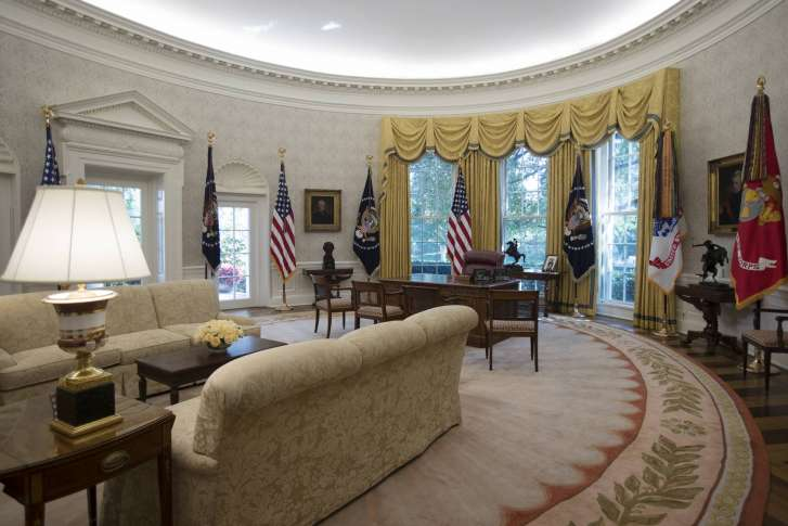 west wing oval office. the newly refreshed oval office of white house is seen in washington, tuesday, aug. 22, 2017, during a media tour. new wallpaper was hung and floors west wing r