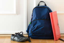 Back to school or ready for school concept with school bag and shoes by front door (Thinkstock)