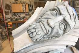 Some of the prophets do not have eyes. National Cathedral masons said the original carvers in the 1950's had artistic leeway in designing the prophets faces. (WTOP/Megan Cloherty)