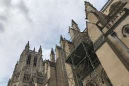 The prophets and stone surrounding them damaged in the earthquake were removed from the south transept of the National Cathedral. (WTOP/Megan Cloherty)