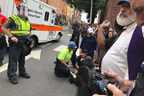 Vehicle plows into protesters in Charlottesville, 1 death reported