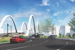 The 68-year-old bridge's replacement, years in the making, is scheduled to open in March 2021. Its design features four pedestrian overlooks, three above-deck arches and two piers that will appear to float in the river. (Courtesy DDOT)