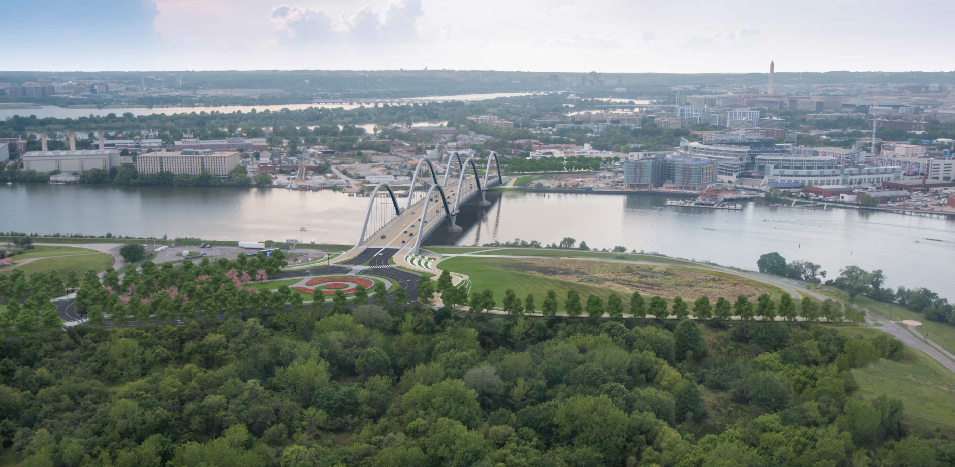 An artist's rendering of how the new bridge will look over the Anacostia (Courtesy DDOT)
