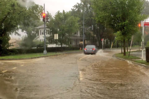 DC-area roads flood after 2 inches of rain