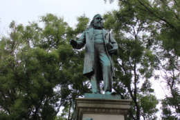 The statue of Albert Pike stands along Indiana Avenue near Judiciary Square on Thursday, Aug. 17, 2017. D.C. Councilmember David Grosso and seven other District elected officials have asked the National Park Serve to remove the statue. (WTOP/Amanda Iacone)