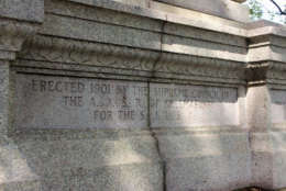 The inscription reads: Erected 1901 by the Supreme Council of the A.A. S.R. of Freemasonry for the S.J.U.S.A. (WTOP/Amanda Iacone)