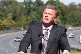 Former Maryland Gov. Robert Ehrlich speaks at the dedication of Maryland Route 200/ICC in his honor. (WTOP/Kate Ryan)