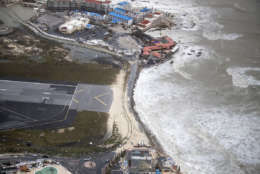 This Sept. 6, 2017 photo provided by the Dutch Defense Ministry shows the coast in the aftermath of Hurricane Irma, in St. Maarten. Irma cut a path of devastation across the northern Caribbean, leaving thousands homeless after destroying buildings and uprooting trees. Significant damage was reported on the island that is split between French and Dutch control. (Gerben Van Es/Dutch Defense Ministry via AP)