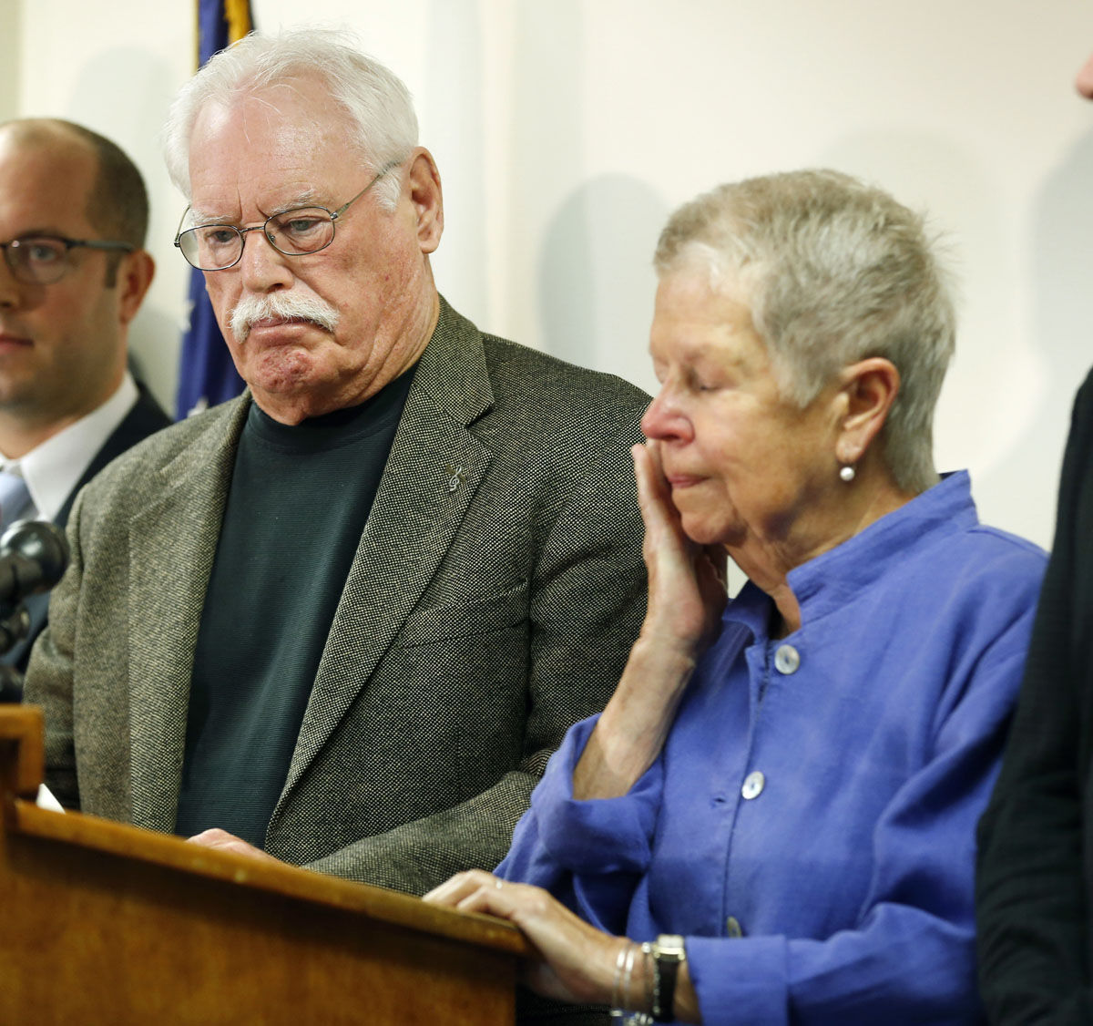 Mary Lyon, right, wipes a tear as she and John Lyon, parents of Sheila and Katherine Lyon, speak to the media after a plea by Lloyd Lee Welch Jr., for the killings of their daughters in 1975, in Bedford County Circuit Court in Bedford, Va., Tuesday, Sept. 12, 2017. Welch plead guilty to two first degree murder charges and was sentenced to two consecutive 48-year prison terms. (AP Photo/Steve Helber)