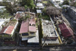 A view of El Gandul Community in Santurce after the scourge of Hurricane Maria, in San Juan, Puerto Rico, Monday, Sept. 25, 2017. The island territory of more than 3 million U.S. citizens is reeling in the devastating wake of Hurricane Maria. (AP Photo/Carlos Giusti)