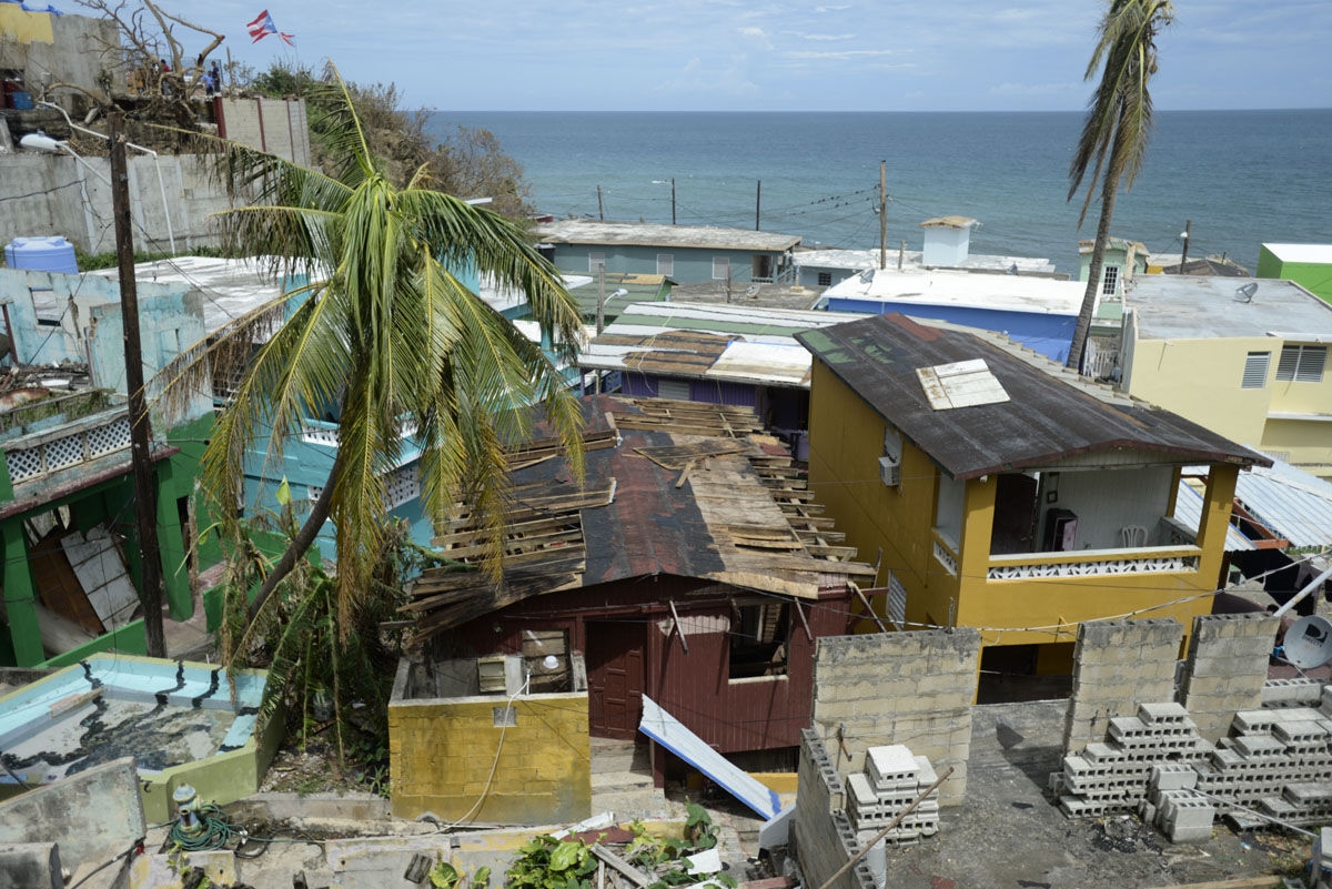 A view of La Perla community in Old San Juan after the scourge of Hurricane Maria, in San Juan, Puerto Rico, Monday, Sept. 25, 2017. The island territory of more than 3 million U.S. citizens is reeling in the devastating wake of Hurricane Maria. (AP Photo/Carlos Giusti)